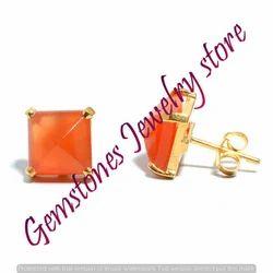 Orange Chalcedony Gemstone Ear Stud