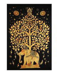 Life Of Tree Elephant Printed Cotton Cloth Wall Hanging