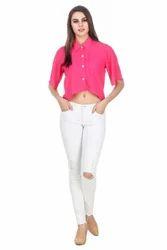 Ladies Pink Shirt Crop Top