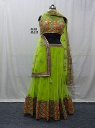 Green Net Embroidered Lehenga Choli