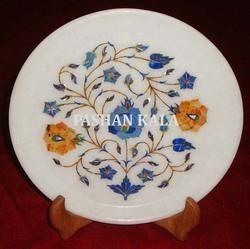 Round Flower Design Marble Stone Plate