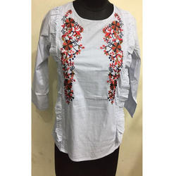 Ladies White Embroidery Top