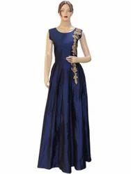 Designer Silk Navy Blue Fluffy Long Dress Gown