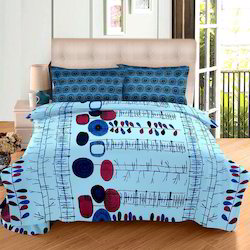 Always Plus Blue, Grey, Pink Cotton Double Bedsheet