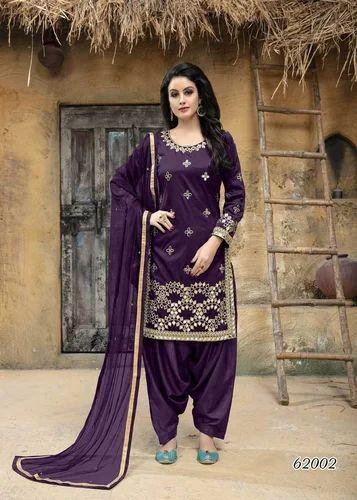 efa1376086e Elegant Purple Color Taffeta Silk Mirror Work Patiyala Salwar Kameez