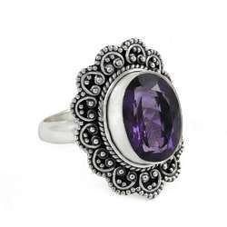 Big Amazing 925 Sterling Silver Amethyst Ring