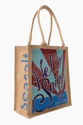 Round Wooden Handle Jute Promotional Bags