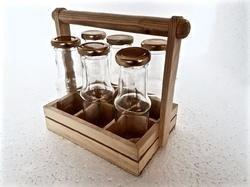 Beverage Glass Bottles with Wooden Rack