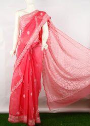 Chikan Hand Embroidered Lahariya Saree