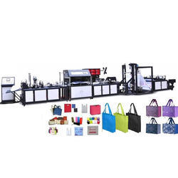 Auto Handle Attach Non Woven Box Bag Making Machine