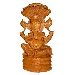Natural Wooden Naag Ganesha
