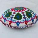 Round White Embroidered Cushion
