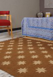 Handmade Brown Star Printed Jute Rug