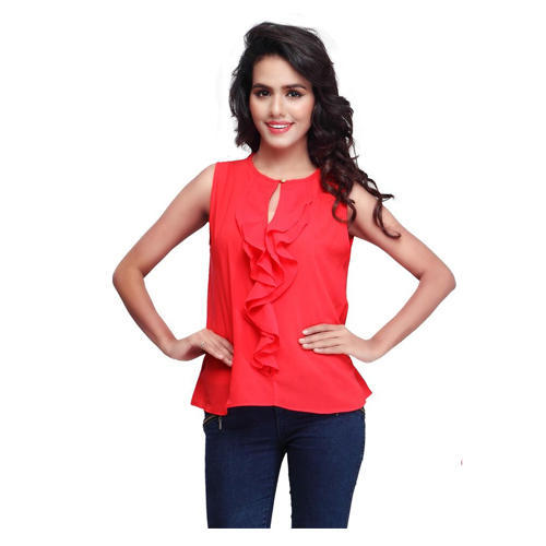 a26d14dfde8cd Ladies Tops - Red Georgette Top Manufacturer from Surat