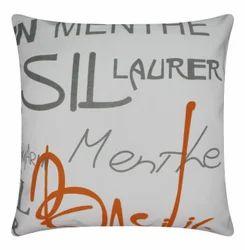 Letter Print Cotton Cushion