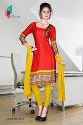 Red and Yellow Italian Crepe Uniform Salwar Kameez