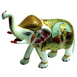 Meena Painted Elephant Statues