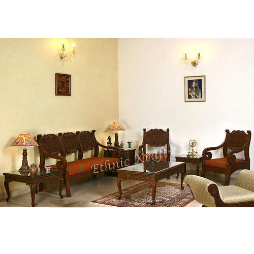 Carved Wooden Sofa Set   Royal Design Three Seater Sofa Manufacturer From  New Delhi