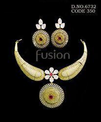 Cubic Zircon American Diamond Necklace Set