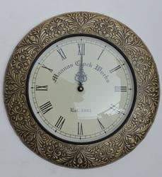 Brass Fitted Wooden Wall Clock