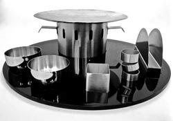 Silver Black Theme Round Snack Warmer Set