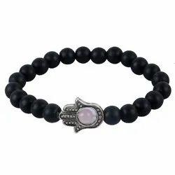 Lava Stone Beads Humsa Hand Elastic Bracelet