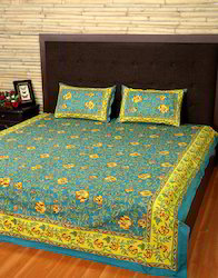 Floral Printed Sanganeri Fitted Cotton Double Bedding Sheet Cover