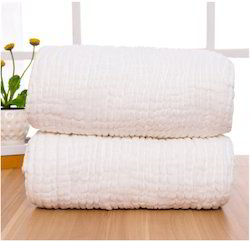 Muslin 4 Layers Soft Solid White Baby Blankets