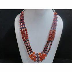 Carnelian & Amethyst Gemstone Beaded Necklace
