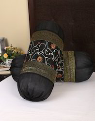 Floral Embroidered Polydupion Black Bolster Cushion Cover