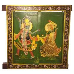 Wooden Radha Krishna Painted Window
