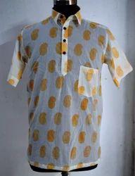 Half Sleeve Mens Shirt Booti Print Hand Block Print Cotton Fabric