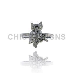 Diamond Owl Mid Ring Jewellery