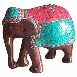 Wooden Elephant With Gemstone Work