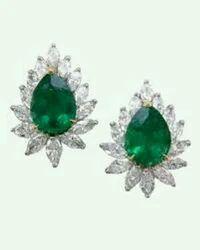 Green Sapphire Diamond Earrings