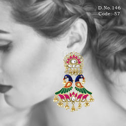 Meenakari Peacock Earrings