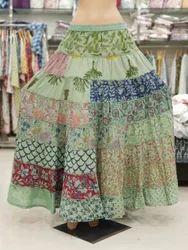 Indian Women Ethnic Handmade Patchwork Cotton Printed Long Skirt