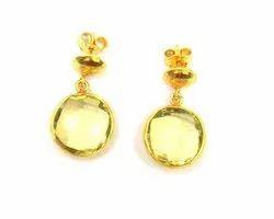 Lemon Quartz Gemstone Stud Earring Set