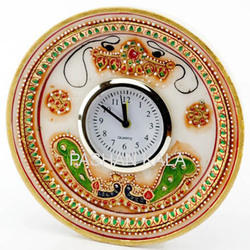 Gold Work Marble Plate with Clock
