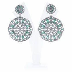 Pave Diamond Gemstone Earrings