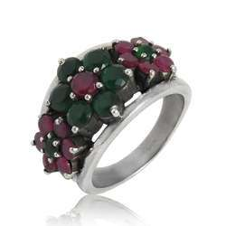 Mystic Princess 925 Sterling Silver Green Onyx Ruby Ring