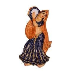 Village Lady Wall Hanging Playing Tambourine-Violet