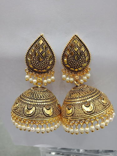 cfa77c2c0 Indian Unique Ethnic Drop Gn Oxidized Plated Peral Gold Jhumka Earrings