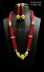 Ruby Beaded Antique Necklace Set