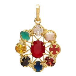 Synthetic Navratan Brass Flower Shape Pendant