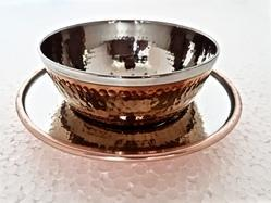 Copper Steel Hammered Bowl with Under Liner