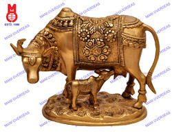 Brass Cow Standing With Calf On Oval Base