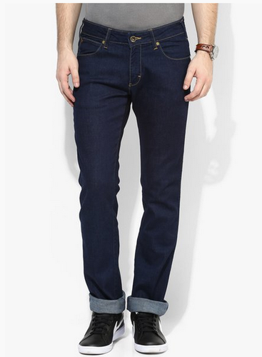 a324fa7bf63 Mens Jeans - Wrangler Navy Blue Solid Mid Rise Slim Fit Jeans ...