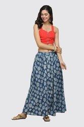 Women Wear Indigo Blue Color Cotton Soft Jersey Wide Waist Long Skirt