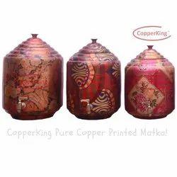 Copper King Pure Copper Printed Water Pot Matka